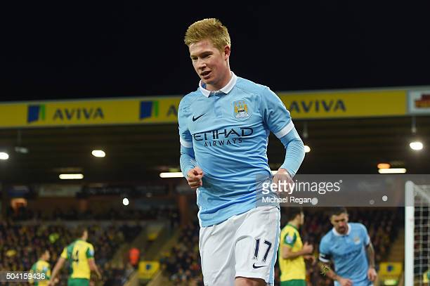 Kevin de Bruyne of Manchester City celebrates scoring his team's third goal during the Emirates FA Cup third round match between Norwich City and...