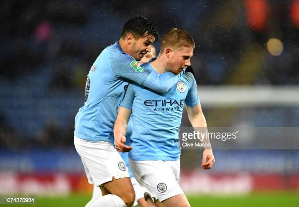 Kevin De Bruyne of Manchester City celebrates with Brahim Diaz and Oleksandr Zinchenko after scoring his sides first goal during the Carabao Cup...