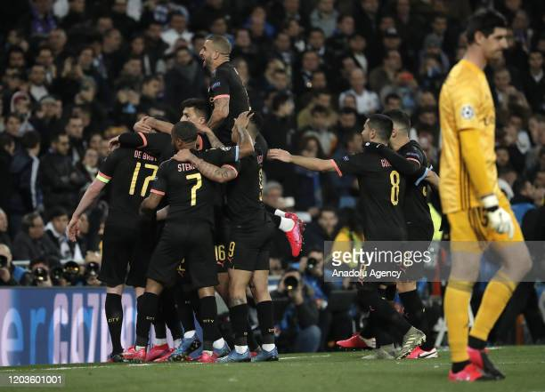 Kevin de Bruyne of Manchester City celebrates with his teammates after scoring a goal during the UEFA Champions League round of 16 first leg soccer...