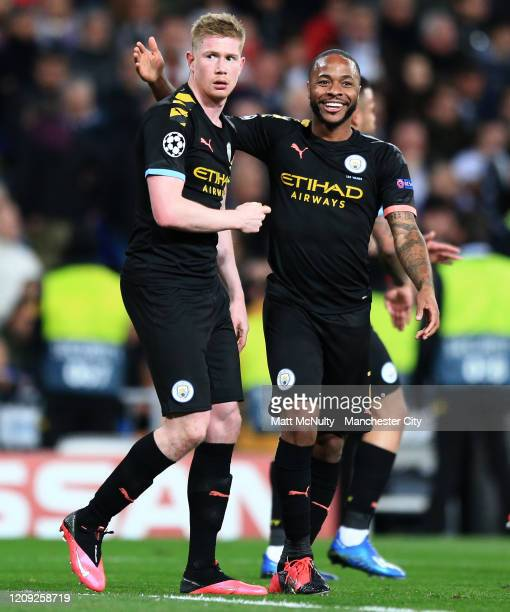 Kevin de Bruyne of Manchester City celebrates with Raheem Sterling after scoring his teams second goal during the UEFA Champions League round of 16...