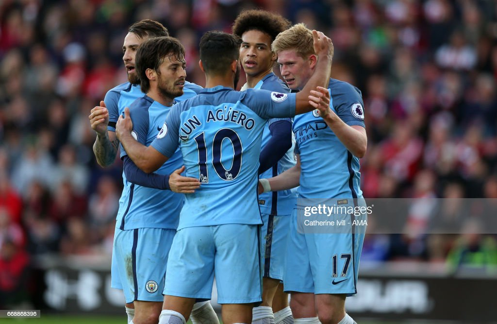 Kevin De Bruyne of Manchester City celebrates with team mates David Silva, Sergio Aguero and Leroy Sane of Manchester City during the Premier League match between Southampton and Manchester City at St Mary's Stadium on April 15, 2017 in Southampton, England.