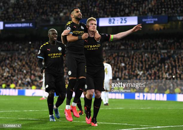 Kevin De Bruyne of Manchester City celebrates with teammate Riyad Mahrez after scoring his team's second goal during the UEFA Champions League round...