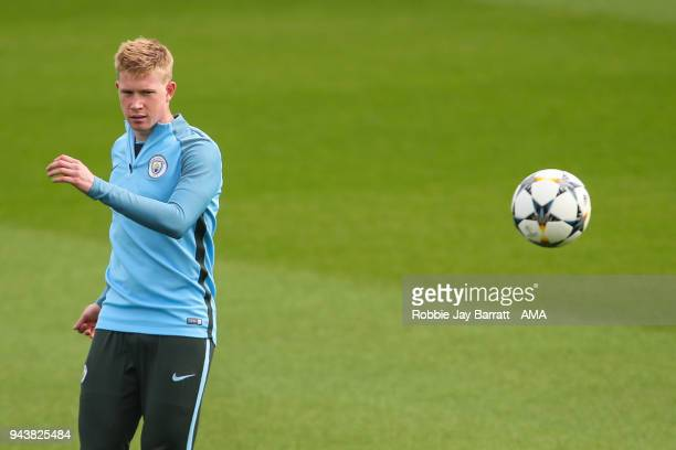Kevin De Bruyne of Manchester City during a Press Conference and Training Session at Manchester City Football Academy on April 9 2018 in Manchester...