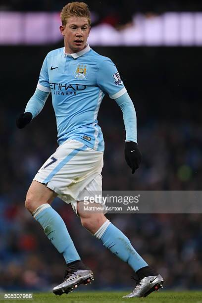 Kevin De Bruyne of Manchester City during the Barclays Premier League match between Manchester City and Crystal Palace at the Etihad Stadium on...