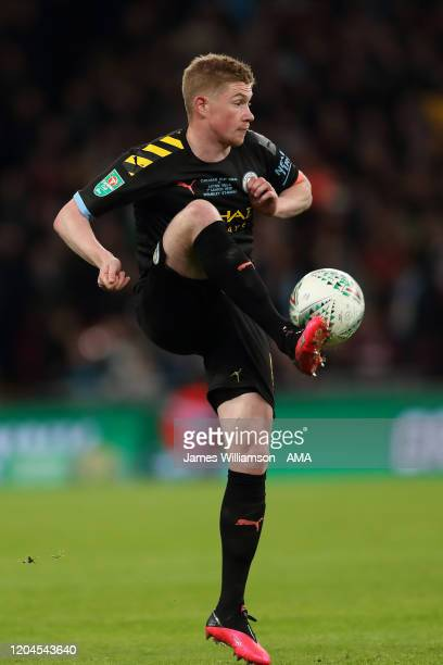 Kevin De Bruyne of Manchester City during the Carabao Cup Final between Aston Villa and Manchester City at Wembley Stadium on March 1 2020 in London...