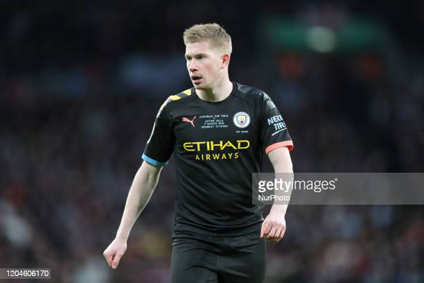 Kevin De Bruyne of Manchester City during the Carabao Cup Final between Aston Villa and Manchester City at Wembley Stadium London on Sunday 1st March...