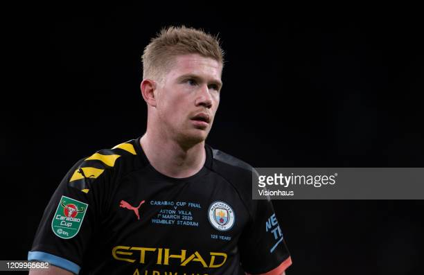 Kevin De Bruyne of Manchester City during the Carabao Cup Final between Aston Villa and Manchester City at Wembley Stadium on March 01 2020 in London...