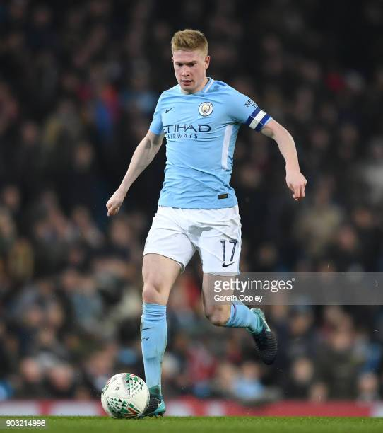 Kevin De Bruyne of Manchester City during the Carabao Cup SemiFinal First Leg match between Manchester City and Bristol City at Etihad Stadium on...