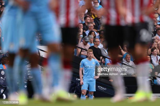 Kevin De Bruyne of Manchester City during the Premier League match between Manchester City and Southampton at Etihad Stadium on September 18, 2021 in...