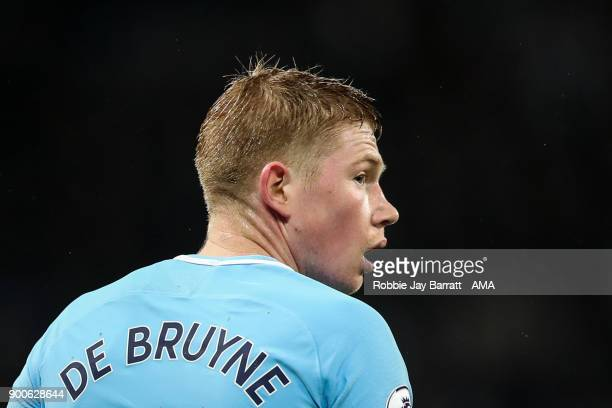 Kevin De Bruyne of Manchester City during the Premier League match between Manchester City and Watford at Etihad Stadium on January 2 2018 in...
