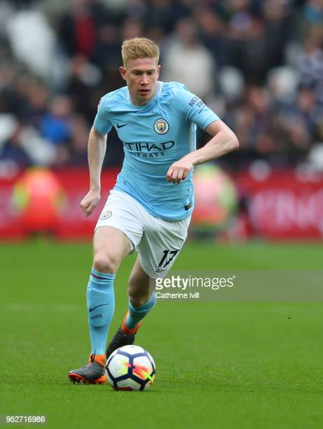 Kevin De Bruyne of Manchester City during the Premier League match between West Ham United and Manchester City at London Stadium on April 29 2018 in...