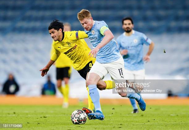 Kevin de Bruyne of Manchester City during the UEFA Champions League Quarter Final match between Manchester City and Borussia Dortmund at Manchester...