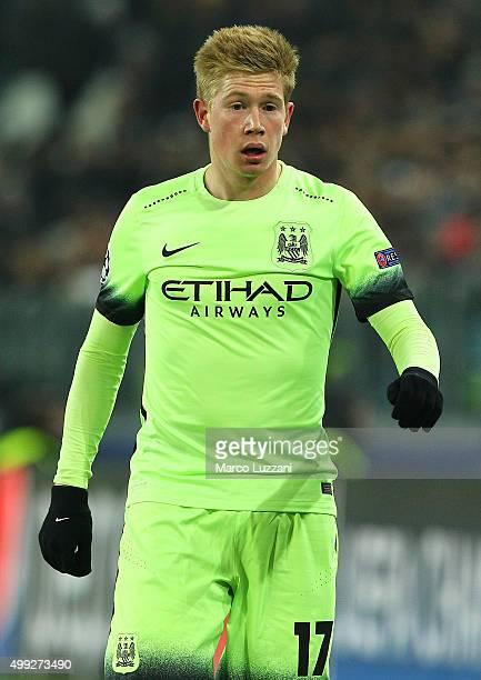 Kevin De Bruyne of Manchester City FC looks on during the UEFA Champions League group stage match between Juventus and Manchester City FC at Juventus...