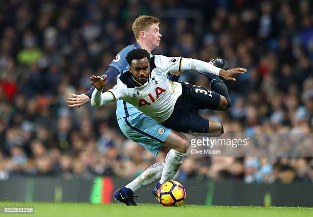 Kevin De Bruyne of Manchester City fouls Danny Rose of Tottenham Hotspur during the Premier League match between Manchester City and Tottenham...