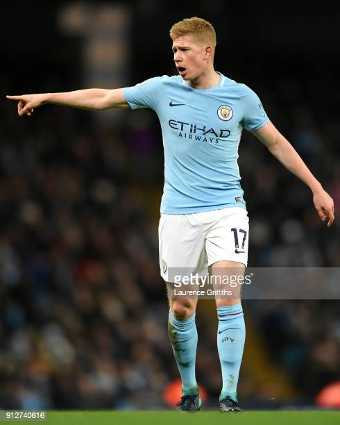 Kevin De Bruyne of Manchester City gives his team instructions during the Premier League match between Manchester City and West Bromwich Albion at...