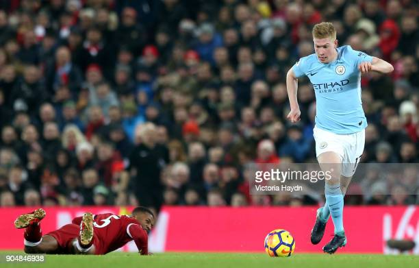 Kevin De Bruyne of Manchester City goes away from Georginio Wijnaldum of Liverpool during the Premier League match between Liverpool and Manchester...