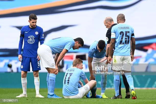 Kevin De Bruyne of Manchester City goes down injured during the Semi Final of the Emirates FA Cup match between Manchester City and Chelsea FC at...