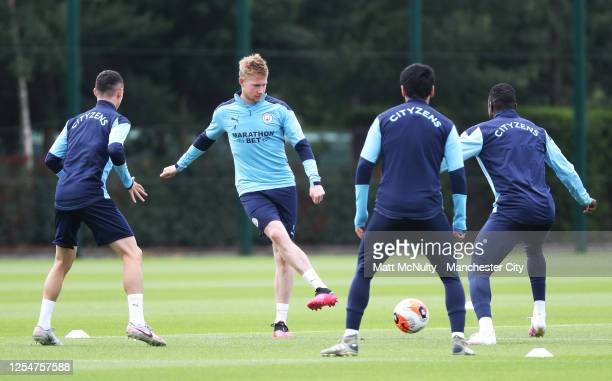 Kevin de Bruyne of Manchester City in action during a training session at Manchester City Football Academy on July 03 2020 in Manchester England