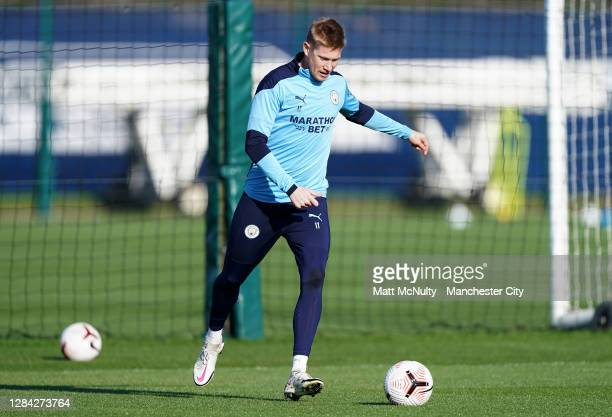Kevin de Bruyne of Manchester City in action during a training session at Manchester City Football Academy on November 06, 2020 in Manchester,...