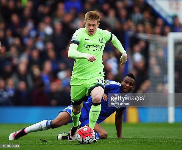 Kevin de Bruyne of Manchester City in action during the Barclays Premier League match between Chelsea and Manchester City at Stamford Bridge on April...