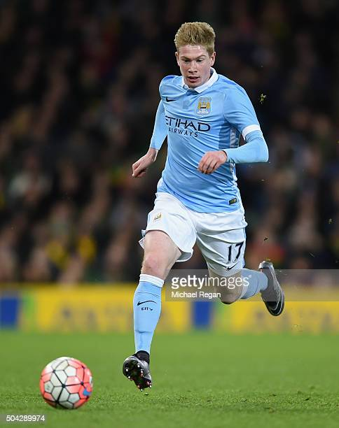 Kevin De Bruyne of Manchester City in action during the Emirates FA Cup third round match between Norwich City and Manchester City at Carrow Road on...