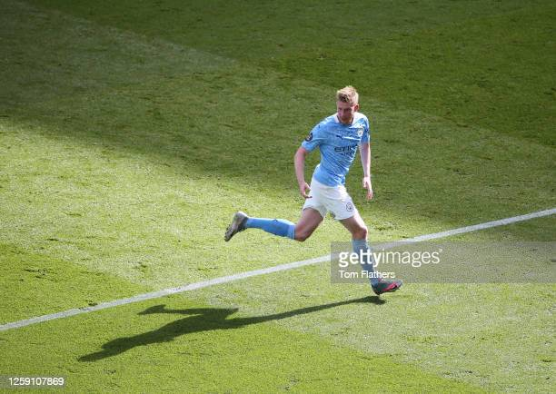 Kevin De Bruyne of Manchester City in action during the Premier League match between Manchester City and Norwich City at Etihad Stadium on July 26,...