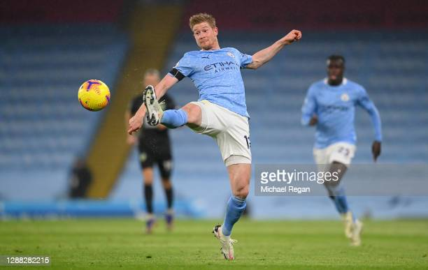 Kevin De Bruyne of Manchester City in action during the Premier League match between Manchester City and Burnley at Etihad Stadium on November 28...