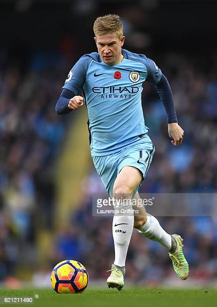Kevin De Bruyne of Manchester City in action during the Premier League match between Manchester City and Middlesbrough at Etihad Stadium on November...