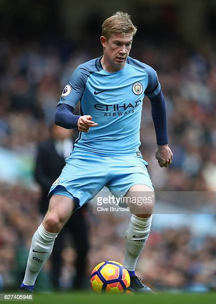 Kevin De Bruyne of Manchester City in action during the Premier League match between Manchester City and Chelsea at Etihad Stadium on December 3 2016...
