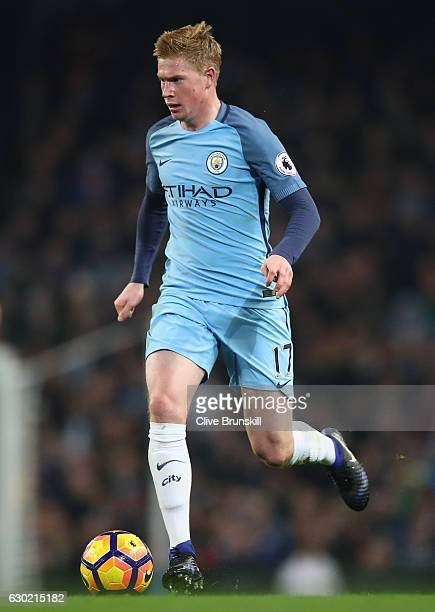 Kevin De Bruyne of Manchester City in action during the Premier League match between Manchester City and Arsenal at Etihad Stadium on December 18...