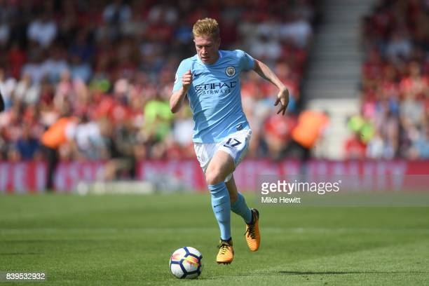 Kevin De Bruyne of Manchester City in action during the Premier League match between AFC Bournemouth and Manchester City at Vitality Stadium on...
