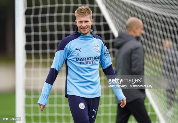 Kevin de Bruyne of Manchester City in action during the training session at Manchester City Football Academy on October 22, 2020 in Manchester,...