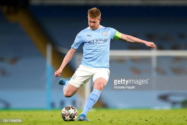 Kevin De Bruyne of Manchester City in action during the UEFA Champions League Quarter Final match between Manchester City and Borussia Dortmund at...