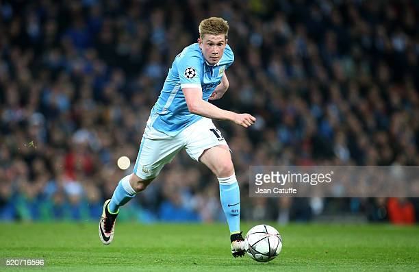 Kevin De Bruyne of Manchester City in action during the UEFA Champions League quarter final second leg match between Manchester City and Paris...