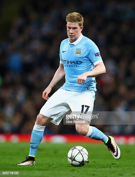 Kevin De Bruyne of Manchester City in action during the UEFA Champions League Quarter Final second leg match between Manchester City FC and Paris...