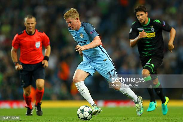 Kevin De Bruyne of Manchester City in action during the UEFA Champions League match between Manchester City FC and VfL Borussia Moenchengladbach at...