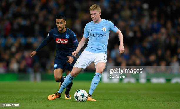 Kevin de Bruyne of Manchester City in action during the UEFA Champions League group F match between Manchester City and SSC Napoli at Etihad Stadium...
