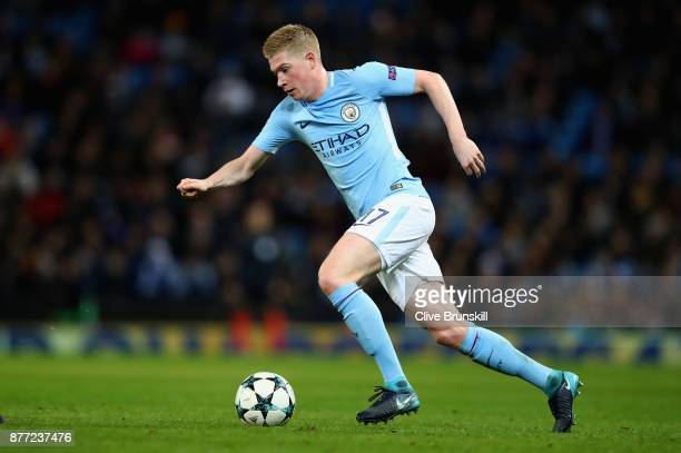 Kevin De Bruyne of Manchester City in action during the UEFA Champions League group F match between Manchester City and Feyenoord at Etihad Stadium...