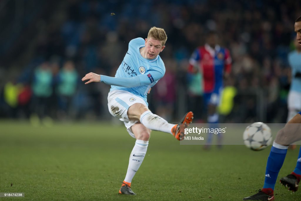 Kevin De Bruyne of Manchester City in action during the UEFA Champions League Round of 16 First Leg match between FC Basel and Manchester City at St. Jakob-Park on February 13, 2018 in Basel, Switzerland. (Photo by MB Media/Getty Images).