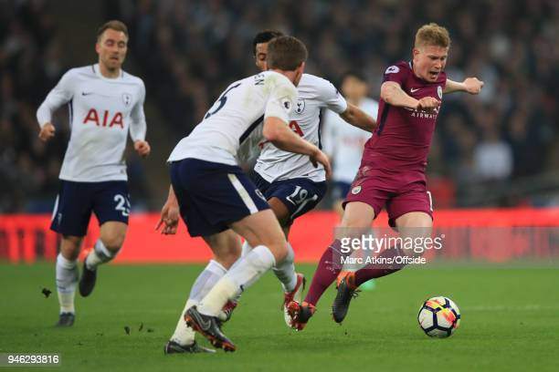 Kevin De Bruyne of Manchester City in action with Mousa Dembele Jan Vertonghen and Christian Eriksen of Tottenham Hotspur during the Premier League...