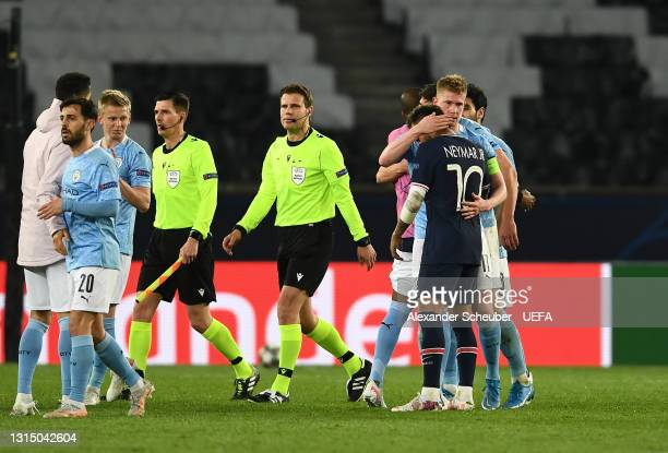 Kevin De Bruyne of Manchester City interacts with Neymar of Paris Saint-Germain after the UEFA Champions League Semi Final First Leg match between...