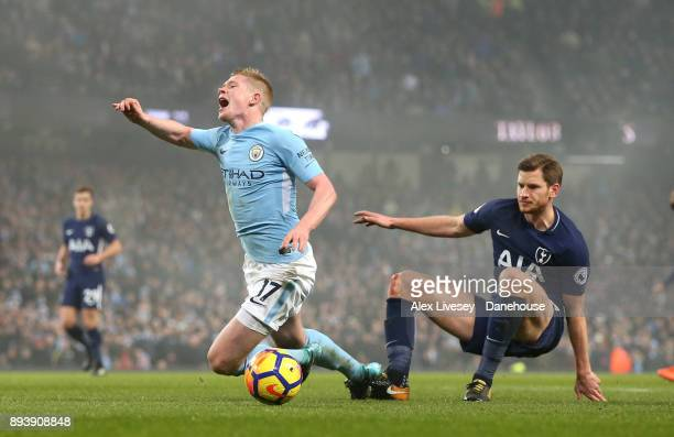 Kevin De Bruyne of Manchester City is brought down by Jan Vertonghen of Tottenham Hotspur for a penalty during the Premier League match between...