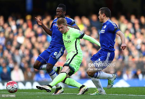 Kevin de Bruyne of Manchester City is challenged by Baba Rahman of Chelsea during the Barclays Premier League match between Chelsea and Manchester...