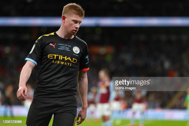 Kevin De Bruyne of Manchester City is seen during the Carabao Cup Final match between Aston Villa and Manchester City at Wembley Stadium