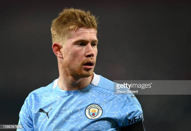 Kevin De Bruyne of Manchester City looks on during the Carabao Cup Semi Final match between Manchester United and Manchester City at Old Trafford on...