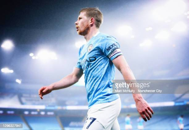 Kevin de Bruyne of Manchester City looks on during the Premier League match between Manchester City and Brighton & Hove Albion at Etihad Stadium on...