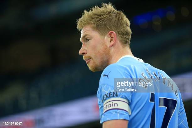Kevin De Bruyne of Manchester City looks on during the Premier League match between Manchester City and Wolverhampton Wanderers at Etihad Stadium on...