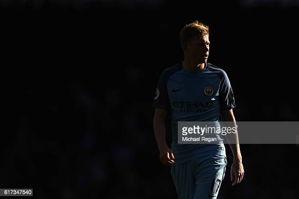 Kevin De Bruyne of Manchester City looks on during the Premier League match between Manchester City and Southampton at Etihad Stadium on October 23...