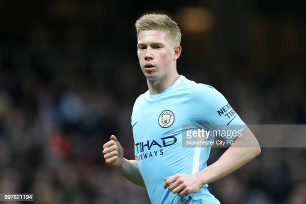 Kevin De Bruyne of Manchester City looks on during the Premier League match between Manchester City and AFC Bournemouth at Etihad Stadium on December...