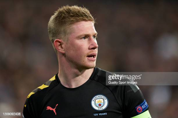 Kevin De Bruyne of Manchester City looks on during the UEFA Champions League round of 16 first leg match between Real Madrid and Manchester City at...